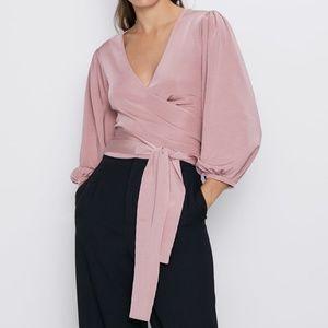 NWT Zara Pink Knit Top with Tie
